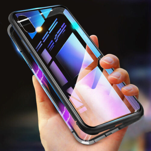 Metal Magnetic Adsorption Case For iPhone XS Max XR 8 7 6s+ Tempered Glass Cover