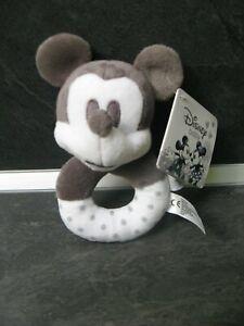 hochet-doudou-grelot-mickey-noir-blanc-gris-pois-disney-baby-neuf