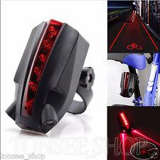 2 Laser+5 LED Hinten Fahrrad Rücklicht Strahlen Sicherheit Warnung Rote Lampe