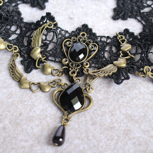Gothic Black Lace Necklace Collar Choker Velvet Retro Vintage Chain Bracelet