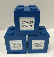 Photo Frame Building Blocks Stackable Blue Lot Of 3 (new)