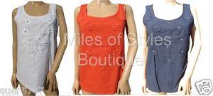NEW-Ex-NEXT-Ladies-Navy-Orange-White-Casual-Vest-Top-Size-10-22