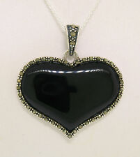 Marcasite .925 Sterling Silver Simple Black Onyx Wide Heart Pendant w/ Chain