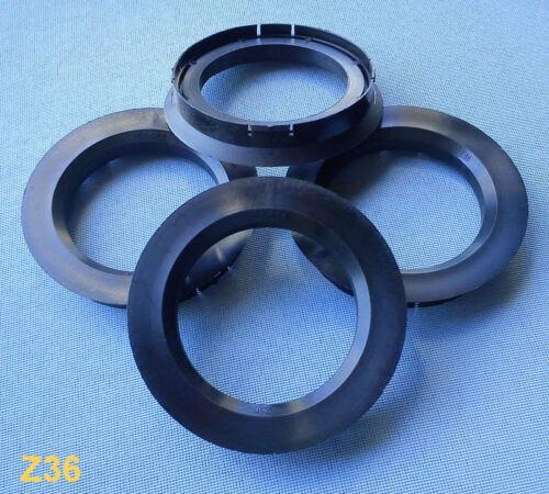 4 Piezas Anillas de centrado 76,0//56,6 mm negro para Alutec Anzio rial z36