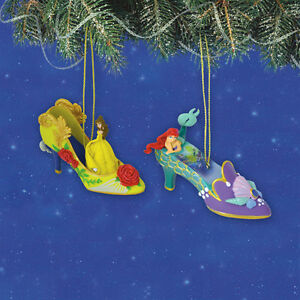 Belle-and-Ariel-Issue18-Disney-Once-Upon-a-Slipper-Ornament-Shoe-Set-of-2