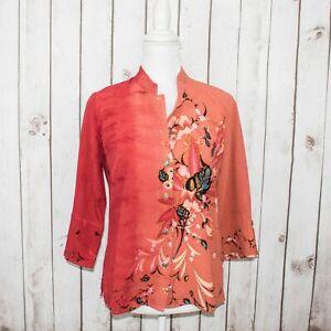 CITRON-of-Santa-Monica-Women-039-s-Silk-Mandarin-Collar-Blouse-Coral-Pink-Floral-XS