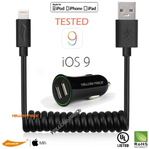 Apple iPad Mini//Air//Pro//iPod Touch MFi Lightning USB Charger Cable/&Car Charger