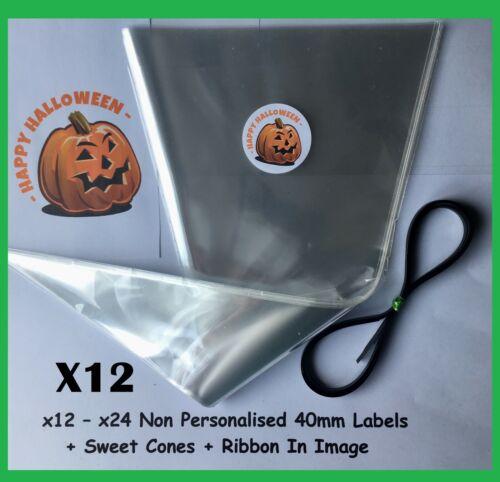 12//24 Happy Halloween Pumpkin Party Labels /& Sweet Cones DIY Kit Stickers Bags