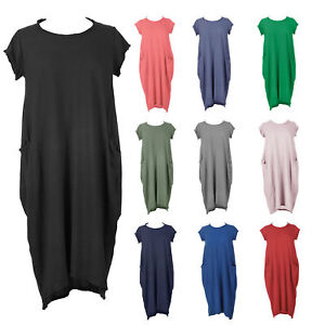 New-Womens-Italian-Lagenlook-Quirky-Boho-Jersey-Cotton-Two-Pocket-Tunic-Dress