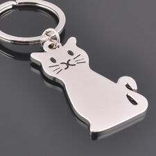 Fashion Cat Keychain Keyring Silver Plated Key Chain Ring Women's Men's Jewelry