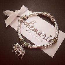 African turquoise elephant charm silver tube bracelet gemstone bijoux jewellery