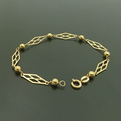 18ct yellow gold diamond shaped links and ball bracelet