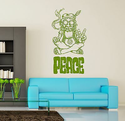 Wall Vinyl Hippie Peace Marihuana Weed Smoking USA Flag (z3399)