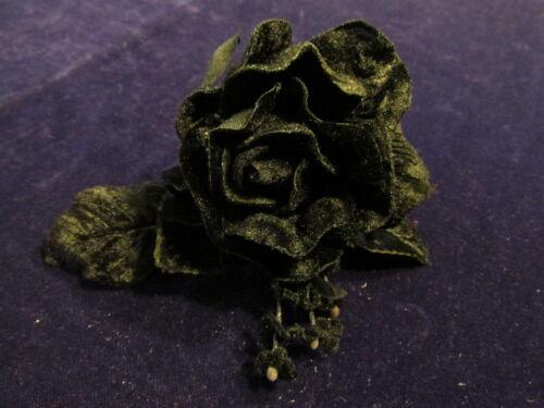 "Forget Me Nots for Hat Hair Y254 All Black Millinery Flower 4/"" Velvet Rose"