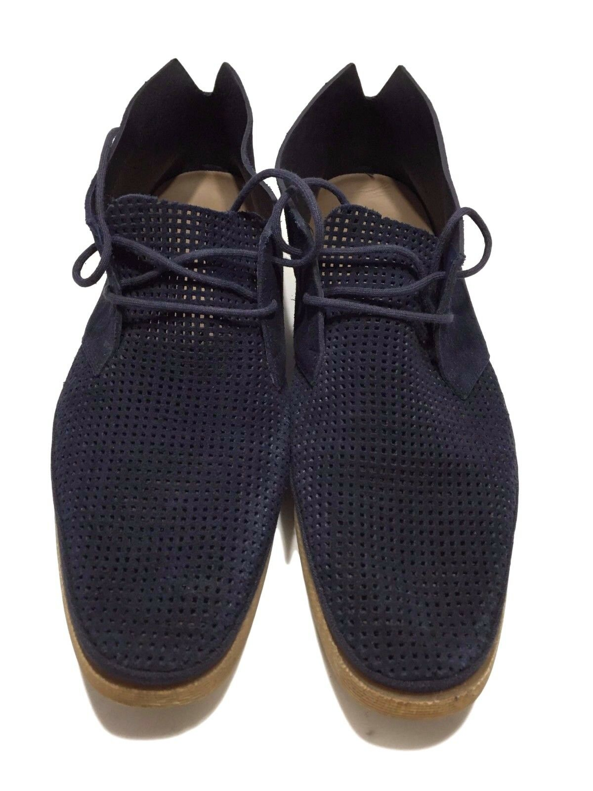 BOSS HUGO BOSS MEN'S NAVY PERFORATED SUEDE LACE UP SHOES, 8 8.5,  495