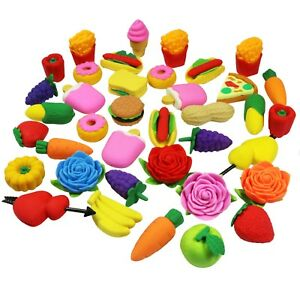 38 Novelty Pencil Erasers Rubber Snacks Fruit & Veg - 10 Zip Bags Sent At Random