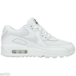 e9451ee72e6fc Nike Air Max 90 Mesh GS Junior Kids Girls Boys Trainers Shoes - White 3 to 6