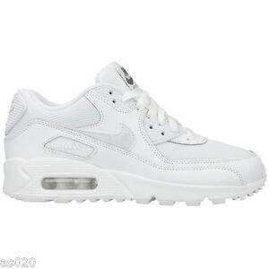 e9451ee72e6fc Nike Air Max 90 Mesh GS Junior Kids Girls Boys Trainers Shoes - White 3 to 6