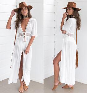 0edb231e75108 New Womens Boho Long Kaftan Maxi Dress Bandage Bikini Cover Up ...