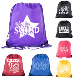 58fbc85379 Image is loading Cheer-Bags-Pom-Pom-and-Cheerleader-drawstring-Backpacks-