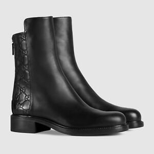 Gucci-sz-35-5-034-Liza-034-GG-Logo-Embossed-Ankle-Boots-Brown-Leather