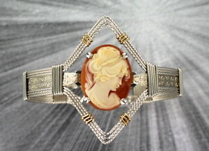 VINTAGE-SHELL-CAMEO-BRACELET-SIZE-7-1-2-WIRE-WRAPPED-STERLING-SILVER