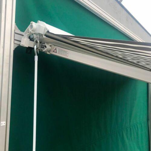 300 x 250 Hülsenmarkise Markise grau//weiß Handkurbel Halbkassette Sonnenschutz