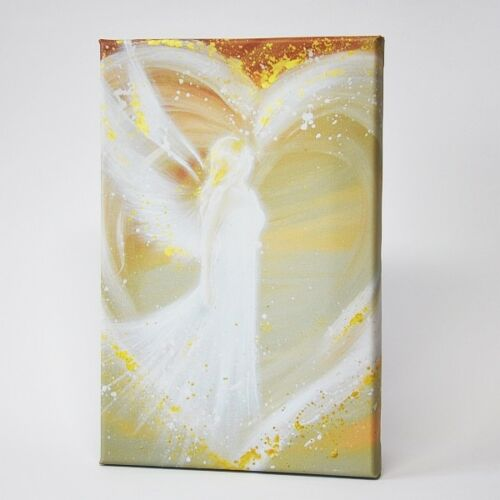 """Angel print on canvas streched on wooden frame: """"Way in your heart"""" 8x12 inches"""