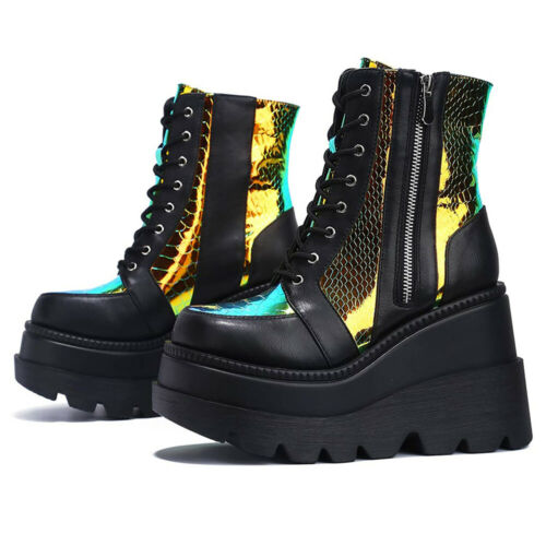 Details about  /Women/'s Platform High Heel Wedge Ankle Boots Lace Up Zip Goth Punk Shoes