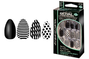 ROYAL-24-STILETTO-FALSE-NAILS-TIPS-POLKA-DOT-BLACK-NAIL-TIP-DESIGN-VOODOO-QUEEN