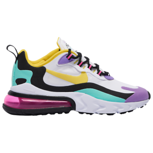 Details about Nike Air Max 270 React White/Dynamic Yellow/Violet Mens 2020  Running All NEW