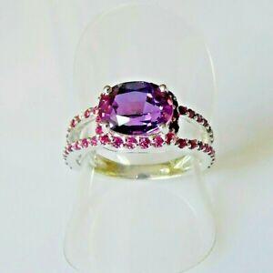 Handarbeit Top Lila Pink Saphir Rubin Cocktail Ring 925 Silber 18,4 mm 58