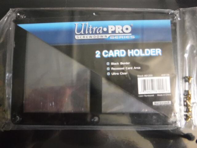 ULTRA PRO NEW BLACK FRAME 2 CARD SCREWDOWN HOLDER 4 SCREW DOWN DOUBLE DISPLAY