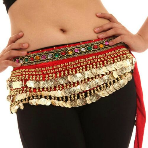 Belly Dance Waist Chain Hip Scarf  With Gemstone Belt dance coins Costumes NEW