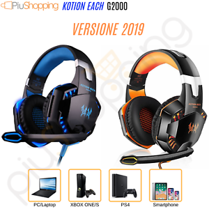 CUFFIE GAMING LED PER PS4 PC XBOX ONE MAC MICROFONO...