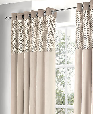 Luxury Eyelet Ring Top Lined Curtains Savoy Natural / Cream