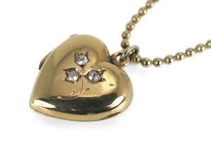 Antikes-Medaillon-Herz-Anhaenger-ca-1920-mit-Diamanten-Gelbgold-BRORS-14023