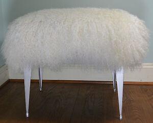 Mongolian Lamb Fur Stool Tibet Silver Legs Vanity Seat