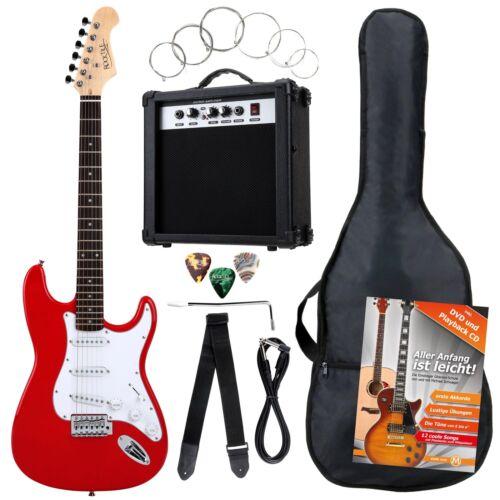 8-Teile Rocktile Bangers Pack E-Gitarren Set mit Verstärker Gigbag Gurt Rot