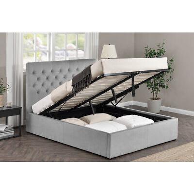 Grey Velvet Fabric Upholstered Bed Frame Ottoman Storage Option Double King Size