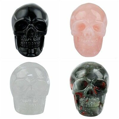 Carved Skull Head Stone Figurine Sculpture Healing Chakra Crystal Home Decor