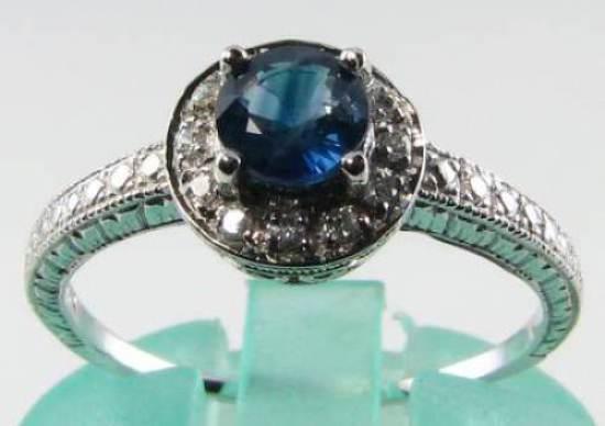 CRISP 9CT 9K WHITE gold blueE SAPPHIRE  DIAMOND ART DECO INS  HALO RING FREE Sz