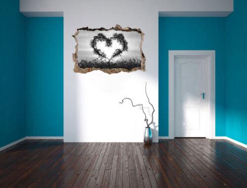 3D-Look Durchbruch Wandtattoo Aufkleber-Sticker Herz aus Bambus Kunst B/&W