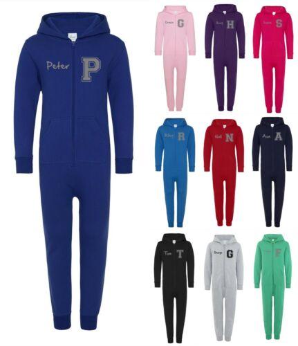 Customised Printed Name Boys Girls Hoodie Kids Personalised Varsity All In One