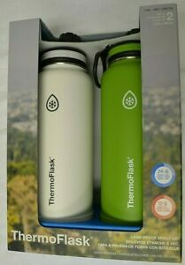 NEW-ThermoFlask-Stainless-Steel-Water-Bottle-40oz-2-pack-White-amp-Green
