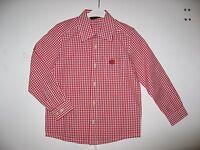 HAMMERSCHMID - Kinder Trachtenhemd, Langarm, Rot - Weiß kariert, Gr. 116 NEU