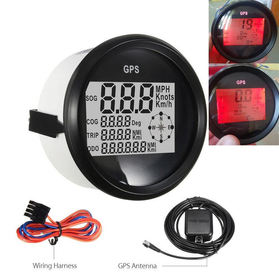 0-999 Kmh Stiefel Auto GPS Tachometer Digitalanzeige Rot LCD MPH Knot Wasserdicht