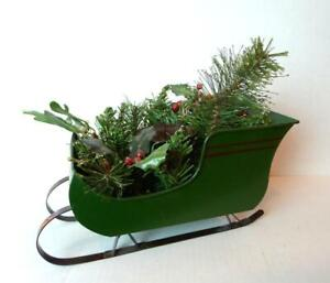 Christmas-Green-Sleigh-Candle-Holder-Metal-decoration-holiday-table-display