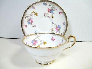 Vintage Royal Stafford Violets Pompadour Cup & Saucer England Gold Trim
