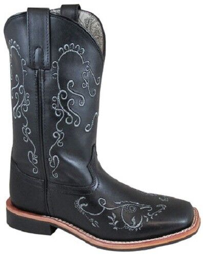 NEW Ladies Smoky Mountain Boots Western Cowboy Leather Black w Scroll Square Toe